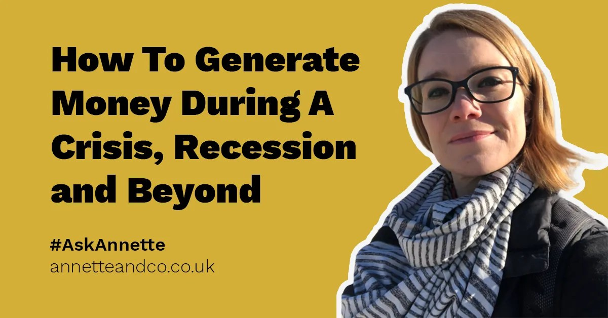 a blog post banner image highlighting the topic on how to generate money during a crisis and recession