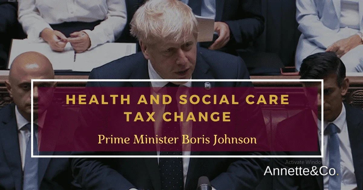 a blog featured image with topic trending about health and social care tax change by prime minister Boris Johnson from bbc source