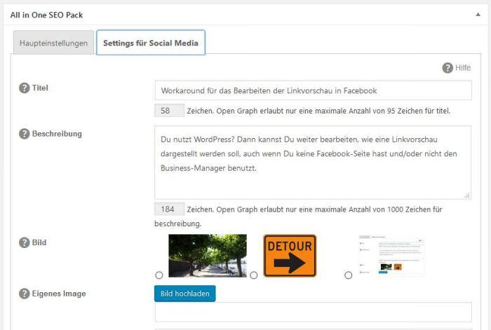 Screenshot Social Meta Box