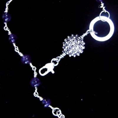 Amethyst silver prayer bracelet