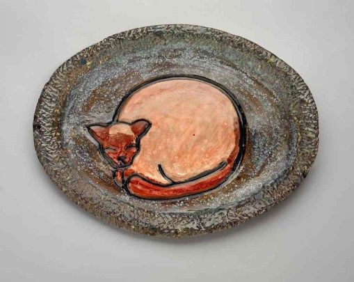 Carved Cat Plate