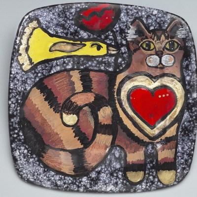Cat & Bird Plate
