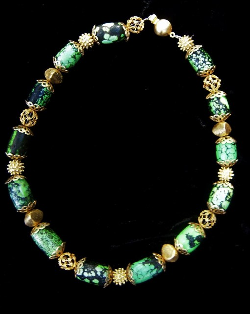 Green Turquoise Necklace with Gold Vermeil