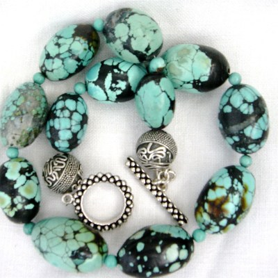 Large Turquoise Nugget and Silver Necklace