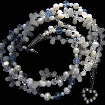 Moonstone pearls swarovski crystal necklace