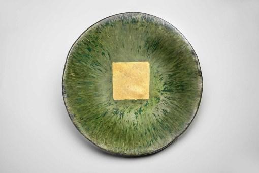 Oriental Green Ceramic Platter with 24 Karat Gold Square