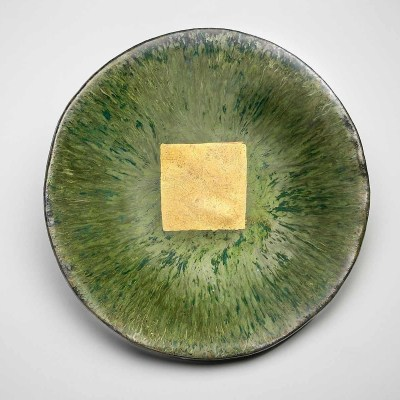 Oriental Green Ceramic Platter with 24 Karat Gold Square