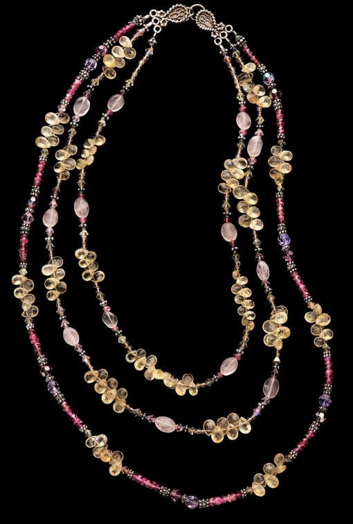 Tourmaline citrine rose quartz necklace
