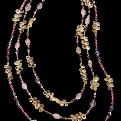 Tourmaline citrine rose quartz necklace