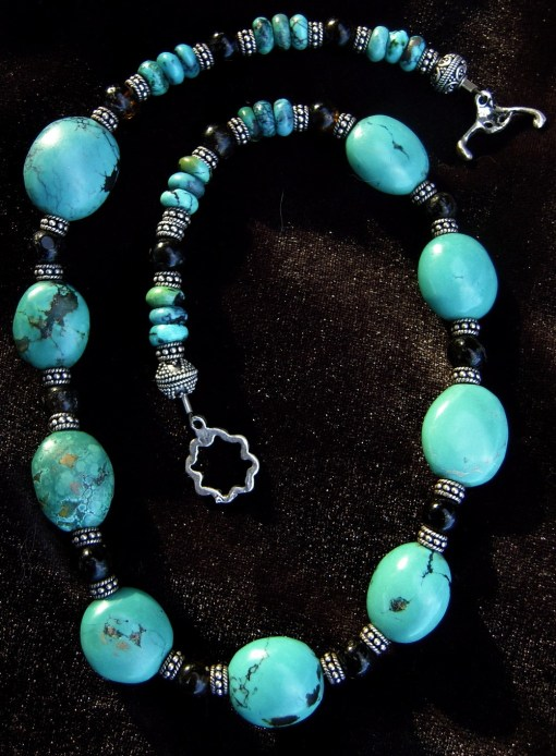 Turquoise brown tourmaline necklace