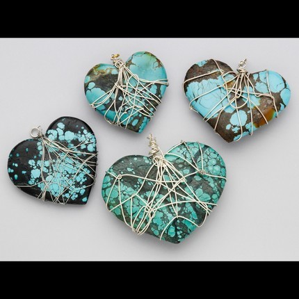 Turquoise Hearts Wrapped with Silver