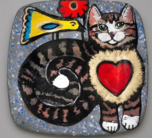 World of Peace Plate - Cat & Bird