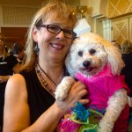 Gracie and I at BlogPaws with her all dressed up