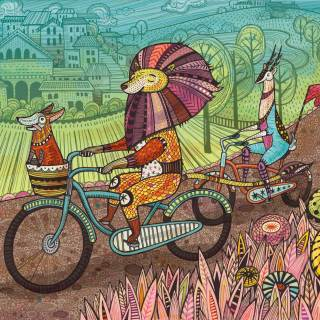 lion and antelope riding bicycles illustration by Anni Betts