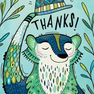 Thank You Card: Badger Tips his Hat