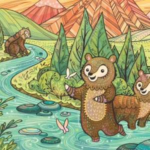 Children's illustration of baby bears in river at Yosemite National Park