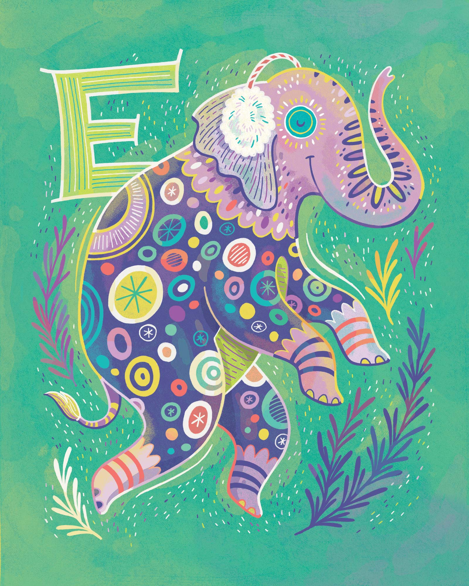 E is for Elephant wearing Earmuffs — print for sale