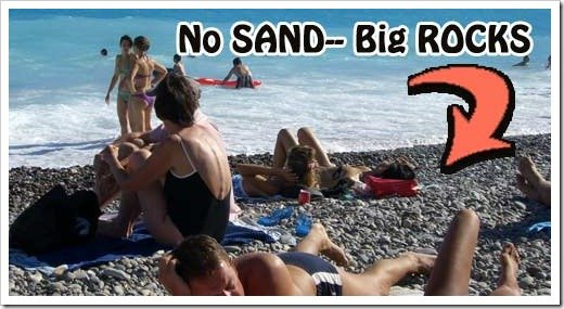 Becareful of the sharp rocks on the beaches in Nice France