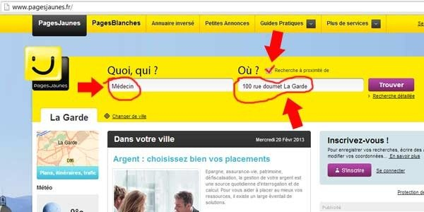 Find doctor in france using the yellow pages page jaunes