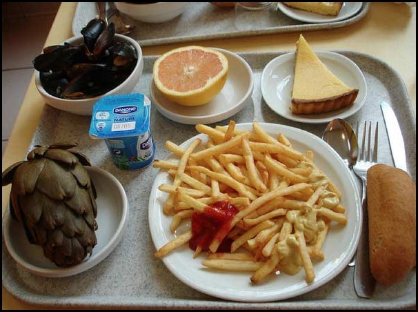 school lunces around the world/France, childrens school lunch