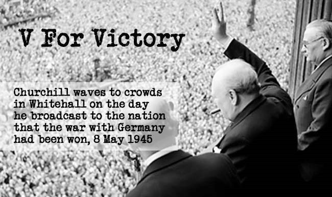 Churchill waves to crawds on the day he broadcast that the war with Germany had been won on 8th of may 1945