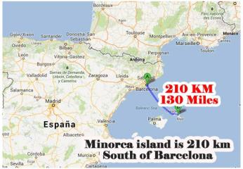 minorca is 130 miles south of barcelona