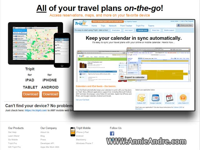synch my calendar with my travel itinerary
