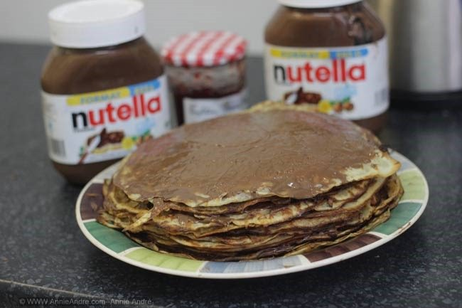we made a crepe cake with alternating layers of nutella and crepes
