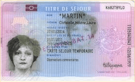 This is an example of what a titre de sejour looks like. similar to an American green card and credit card sized.