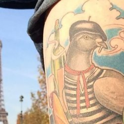 French tattoos: french pigeon with Eiffel tower