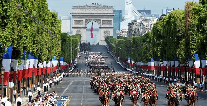 Annual French military parade in Paris on 14th of July (Bastille Day-paris)