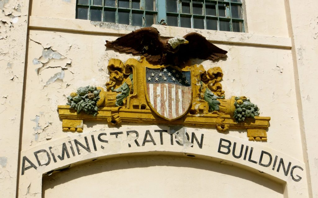 Alcatraz Prison Administration with the USA Flag and Eagle