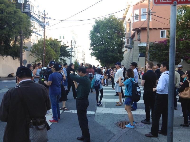 The Crowd near Lombard Street, San Francisco