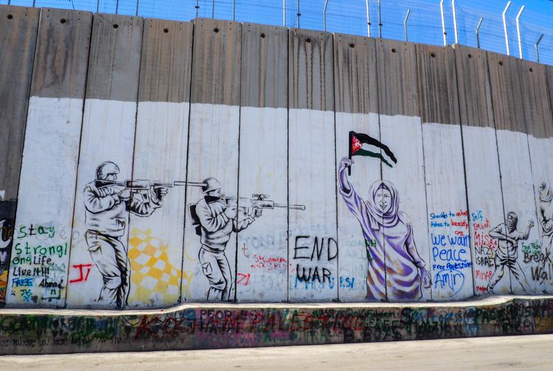 Graffitis sur le mur de West Bank à Bethléem.