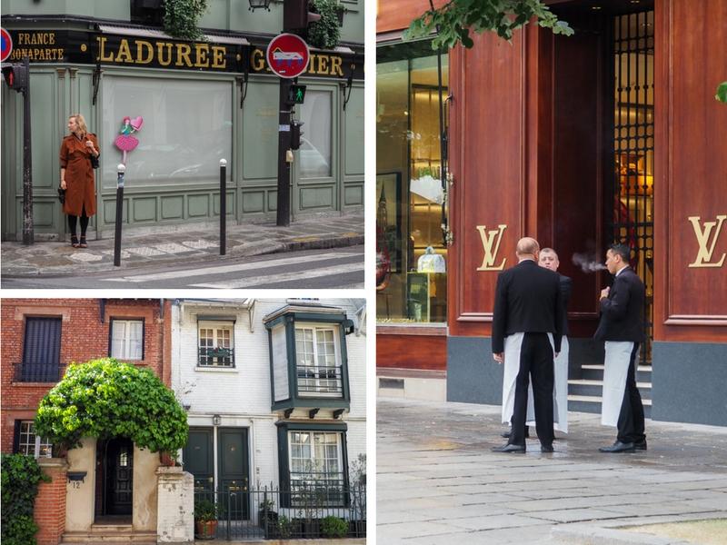 La durée à Paris, paradis des macarons. Serveurs devant une devanture de Louis Vuitton. Deux classiques de Paris.