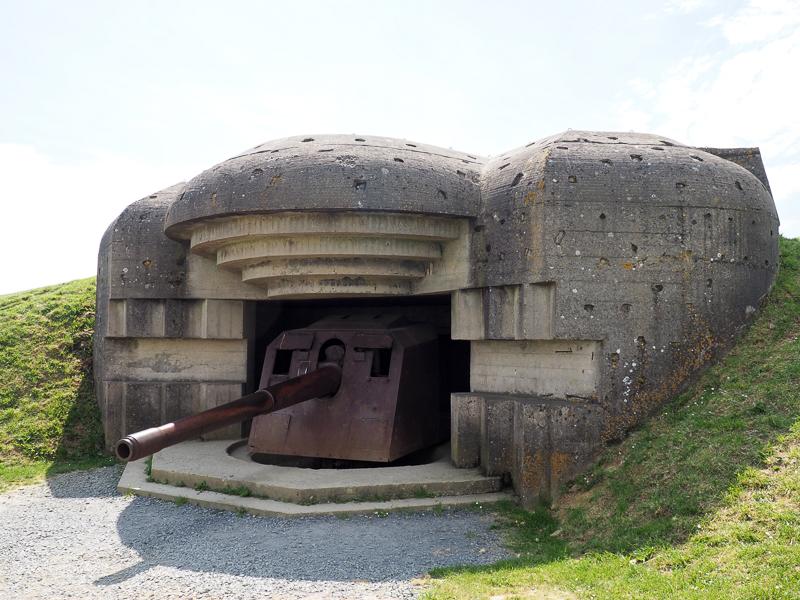 Batterie allemande de Longues-sur-mer en Normandie.