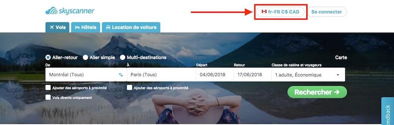Sélectionner la langue et la devise de votre choix sur Skyscanner