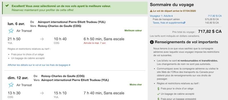 Résultats de recherche de billets d'avion sur Expedia