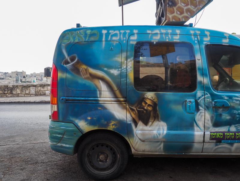 """Camion de livraison """"Jésus"""" à Jerusalem"""