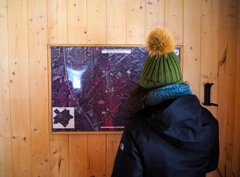 Carte des sentiers de raquettes au parc régional des Grandes-Coulées