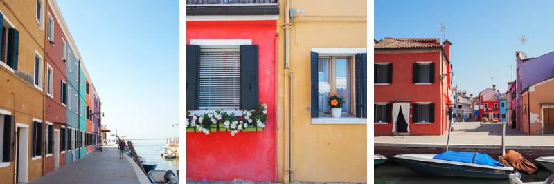 Montage photo des maisons colorées sur Burano près de Venise