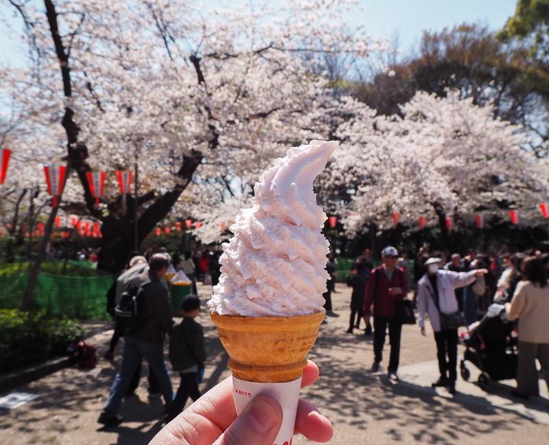 crème glacée à saveur de fleurs de sakura dans le parc Ueno de Tokyo