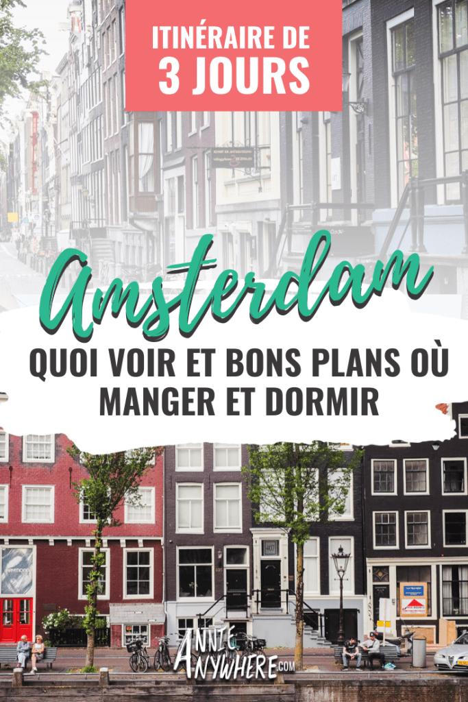 Visiter Amsterdam en 3 jours avec cet itinéraire complet. Quoi voir, où manger, comment se déplacer à Amsterdam et où dormir. Je vous guide à travers les canaux et les maisons en pains d'épices afin que vous ne manquiez rien lors de votre voyage aux Pays-Bas! #amsterdam #voyage