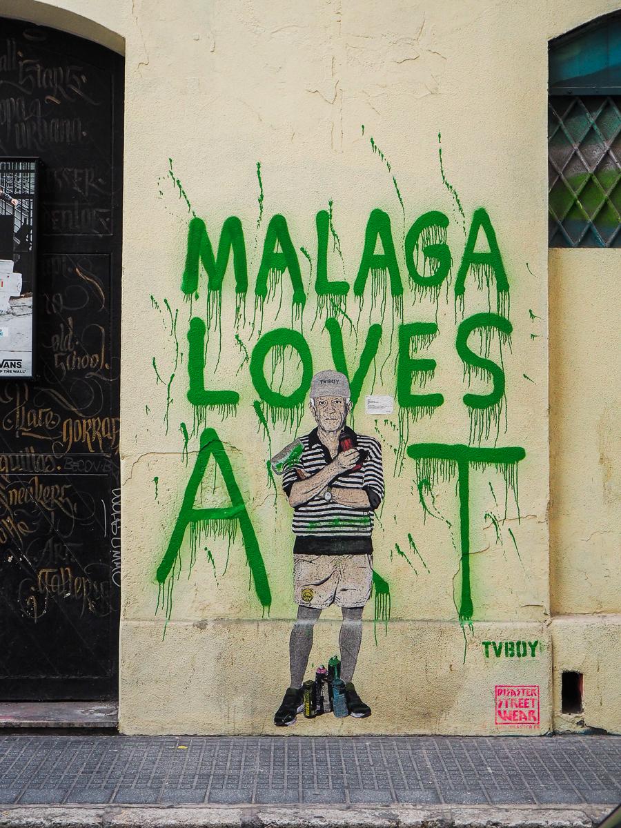 Street art Malaga - Oeuvre de TV Boy montrant Pablo Picasso