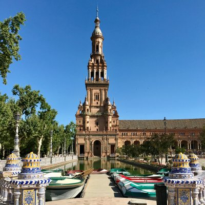 boats at The magnificent Plaza España in Seville