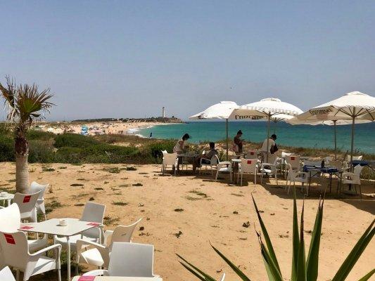 The beach at Zahora, towards the Cape of Trafalgar Lighthouse