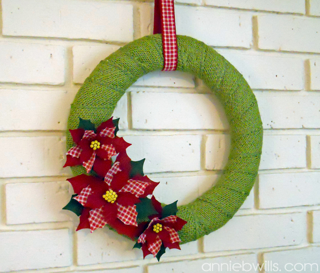 Fabric Poinsettia Wreath by Annie Williams - Main