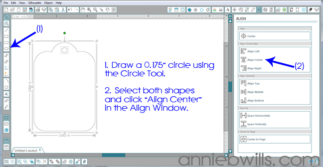Designing Simple Tag Shapes in Silhouette Studio by Annie Williams - Adding Hole Punch