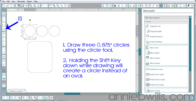 Designing Simple Tag Shapes in Silhouette Studio by Annie Williams - Draw Circles