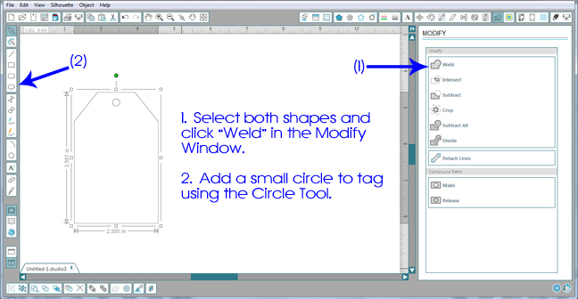 Designing Simple Tag Shapes in Silhouette Studio by Annie Williams - Welding Rectangle Tag